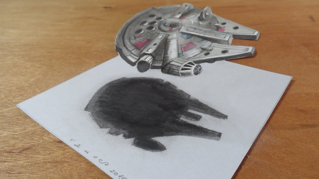 Amazing 3D Drawing Of The Millennium Falcon   How To Draw Millenium Falcon    YouTube