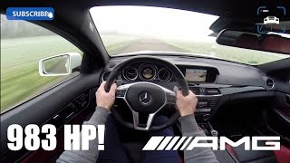Mercedes Benz C63 AMG Coupe 983 HP BRUTAL! Acceleration Sound POV on Autobahn 5.5 V8 BiTurbo 4Matic