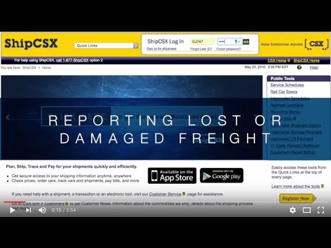 ShipCSX - Reporting Lost Or Damaged Freight