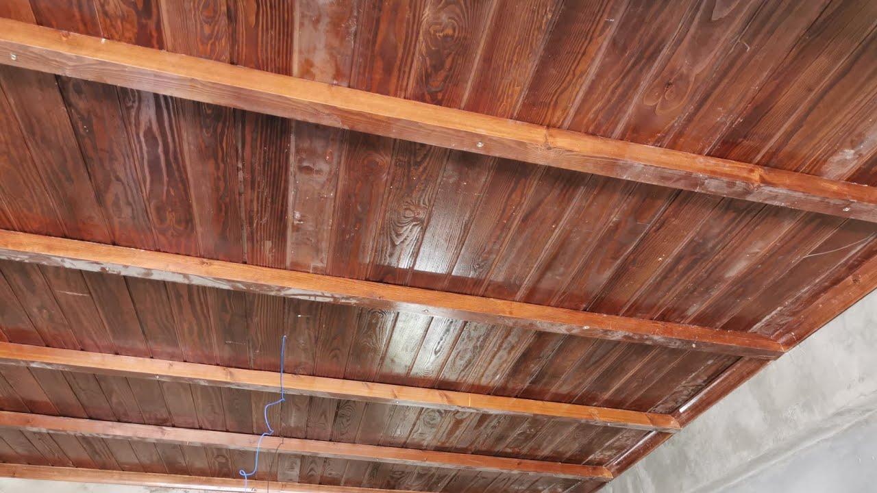 تركيب سقف مستعار خشب Plafond En Bois Youtube