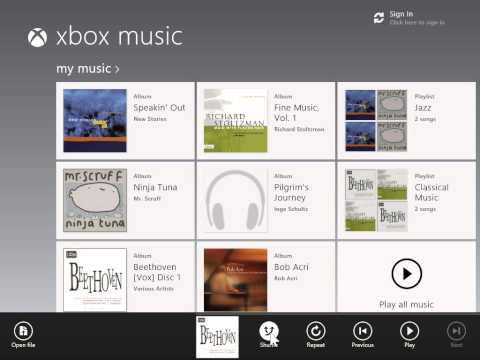 Windows 8.0 Professional -  Shuffle Songs in Xbox Music App