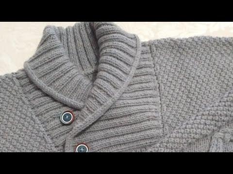 #Мужской свитер #спицами. Часть 4. Вяжем воротник.