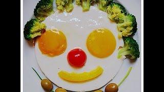 Красивая и веселая яичница на завтрак для детей