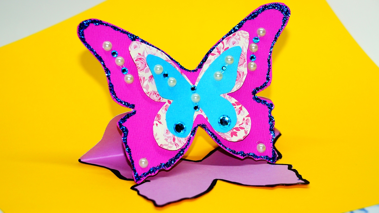 Art And Craft Ideas For Card Making Part - 48: How To Make Greeting Card Butterfly. Greeting Card Making Ideas. Paper Craft  Ideas / Julia DIY