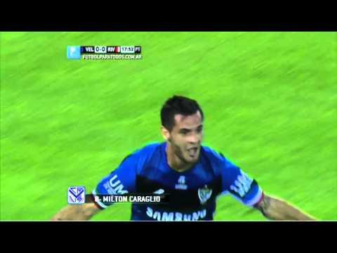 Gol Caraglio. Vélez 1 - River 0. Fecha 15. Primera. FPT.