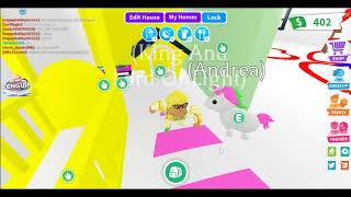 I got free can ride unicorn on adopt me roblox!!! And free traveling house!!!