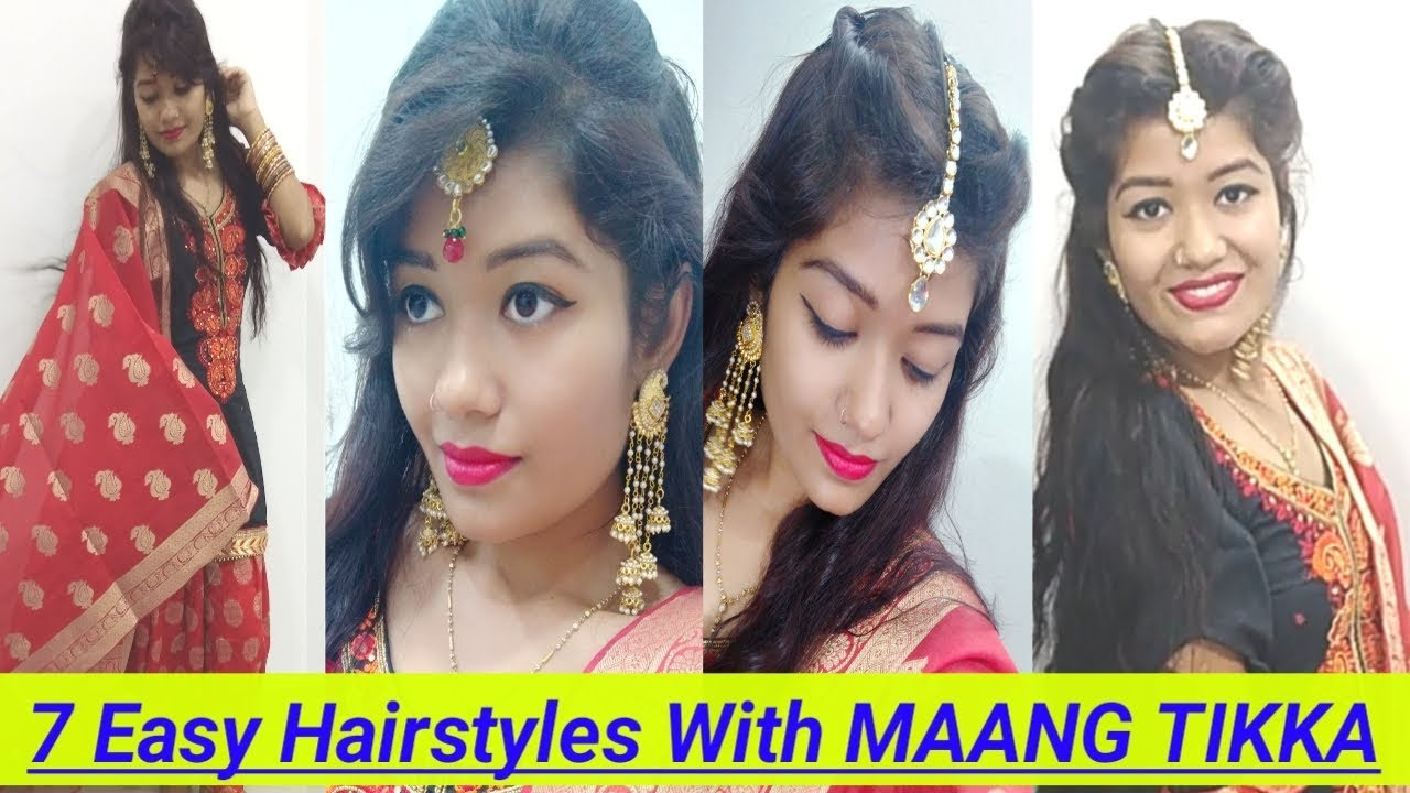 10 Easy Hairstyles With Maang tikka For Karwa Chauth / Diwali  Hairstyles  For Festivals  Krrish