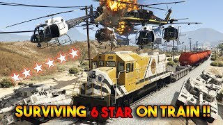 GTA 5 ONLINE : TRYING TO SURVIVE 6 STAR WANTED LEVEL JUST ON TRAIN !