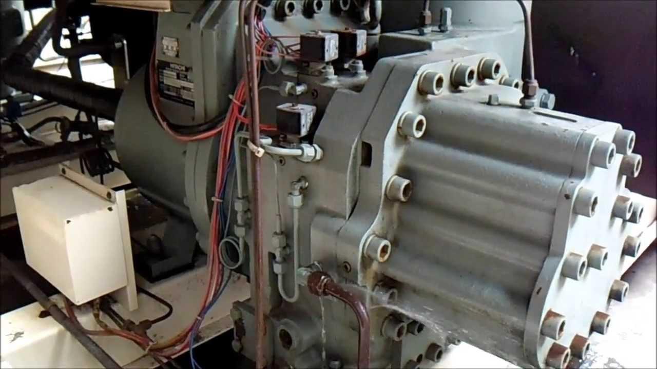 chiller hitachi 130 tr s compressor cheio de gua youtube rh youtube com Hitachi Engine hitachi screw chiller service manual
