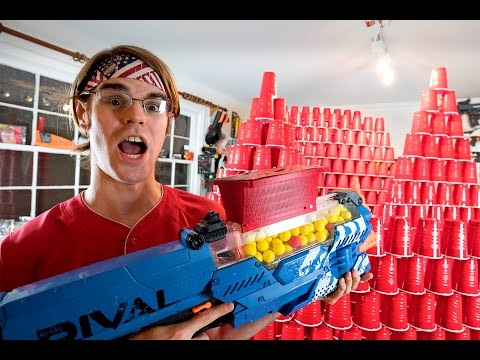 Worlds Greatest Nerf Gun VS. OVER 1001 Cups (Ft. Aaron Esser)
