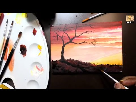 Simple Acrylic Color Sunset Painting For Beginners