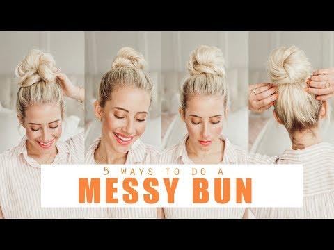 5 ways to do a MESSY BUN!!!!  | Easy Hairstyles