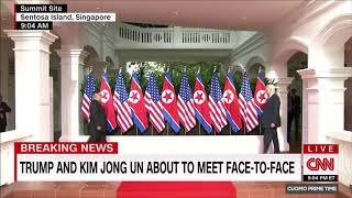Korean Summit but when they shake hands happy music plays