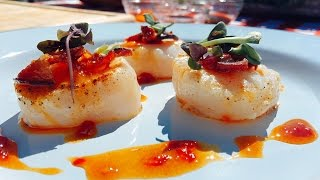 How to Cook Pan Seared Scallops + a Ponzu Sauce and Bacon with Bonefish Grill