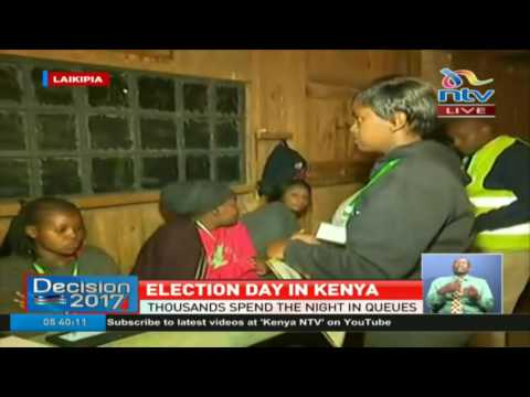 Voters line up at St. Moses primary School Nanyuki in Laikipia County