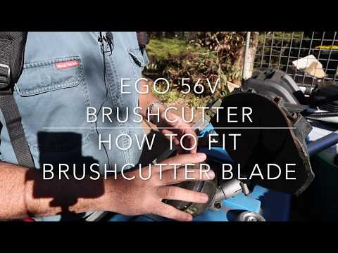 Ego Brushcutter - Removing Line Trimmer Head, Attaching Brushcutter Blade And Demo