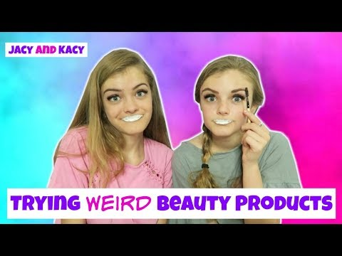 Thumbnail: Trying Fun & WEIRD Beauty Products 3 ~ Jacy and Kacy
