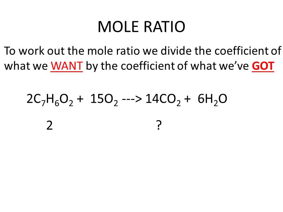 finding the ratio of moles of The ratio of the coefficients is known as the stoichiometric ratio and is the optimum ratio of the compounds to where the most reactants are used up and the most products are produced when the products of a chemical reaction are unknown, it is not possible.