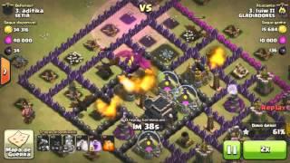 clash of clans ataque com dragao cv8 x cv9 mal upado (th8 x th9 dragon) war