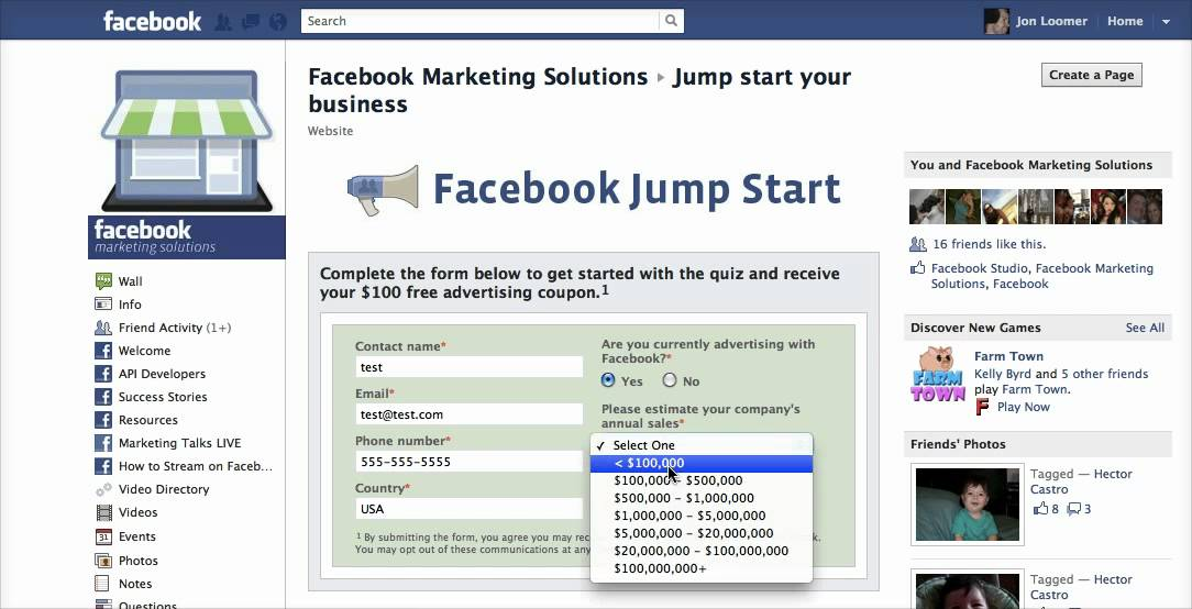 Facebook ad coupon code
