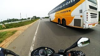 Chasing Volvo bus | Bike vs Bus | High Speed Chase at 130 Kmph !!!