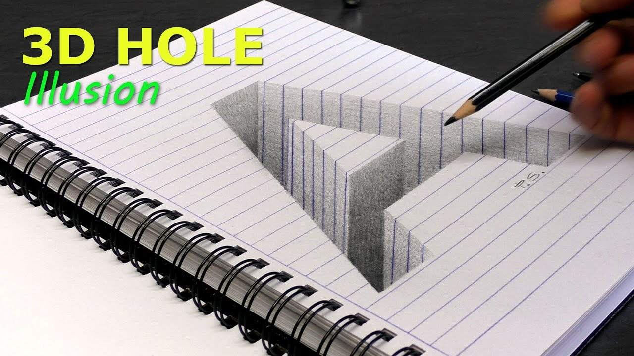 How to draw a hole letter a in line paper 3d trick art