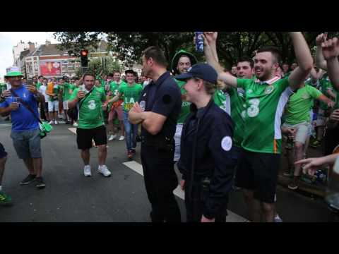 "irish fans in Lille EURO2016 ""who's the sexy garda lalala"" french woman cop"
