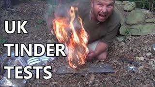 UK sources of tinder for Fire Lighting - Bushcraft tests by Pondguru