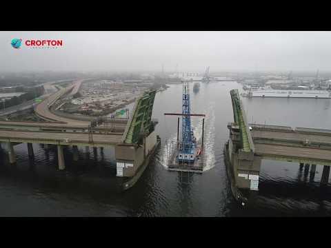 85-Ton Floating Crane Derrick Transports Big Top