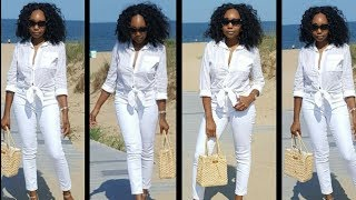 How to style white denim jeans on holidays