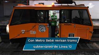 Con ayuda de dos equipos y Dresinas buscan en el tramo subterráneo de la Línea Dorada 12 alguna deformidad o fisura que pudiera mostrar vulnerabilidad tras el colapso de una trabe en la estación Olivos