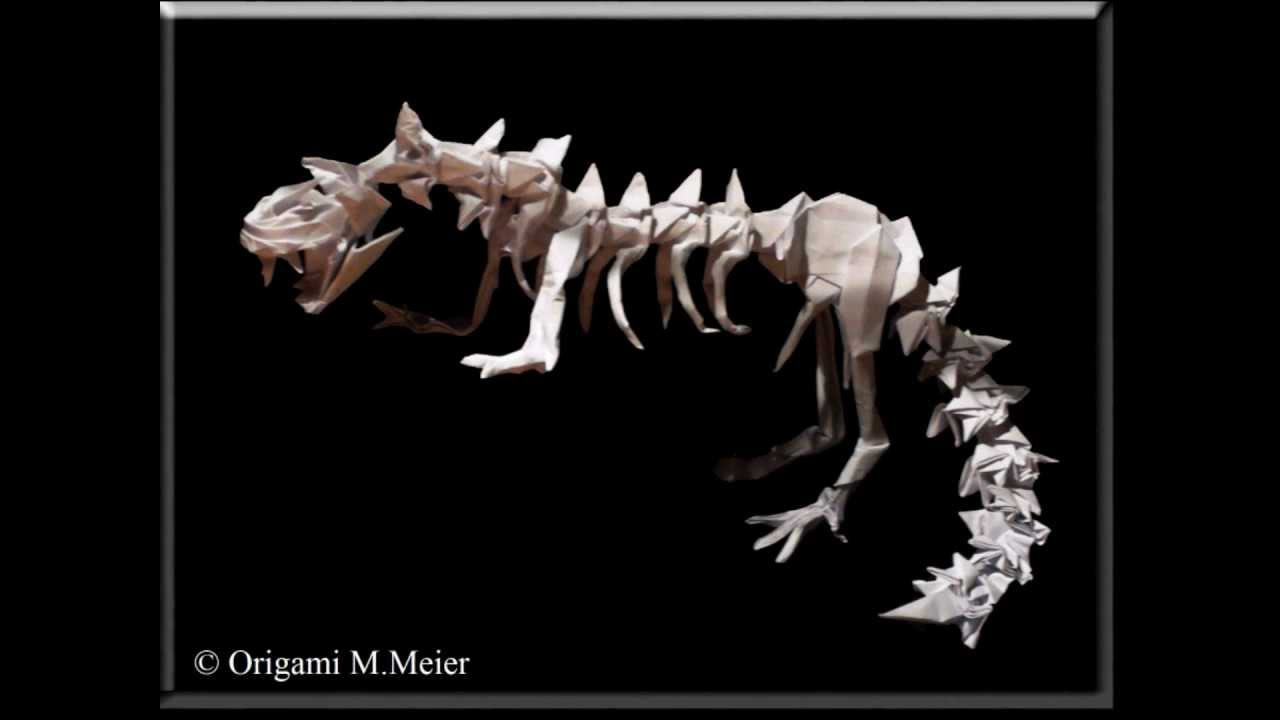 origami dinosaur skeleton youtube