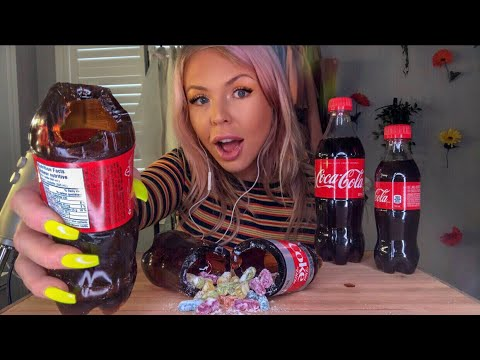 ASMR EDIBLE JELLO COCA COLA BOTTLE FILLED WITH CANDY (HIGHEST VOLUME EDIT)