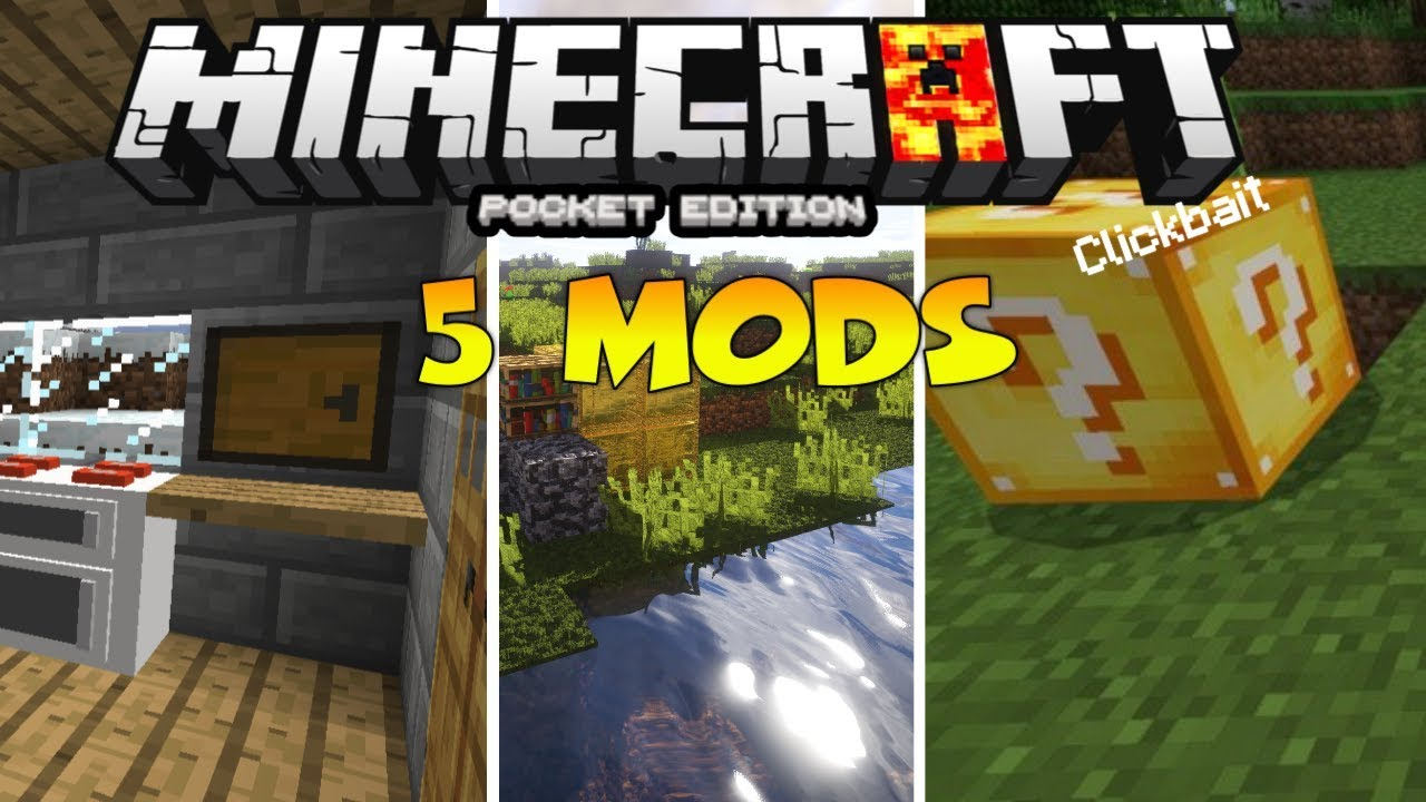 Mcpe 1 14 Top 5 Best Mods Minecraft Pe Top 5 Best Addons Mods For Mcpe 1 14 Youtube