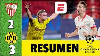Sevilla 2-3 Borussia Dortmund. Grandioso partido de Erling Haaland con doblete | Champions League