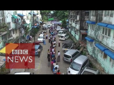 Myanmar election: Drone footage shows long queues of voters - BBC News