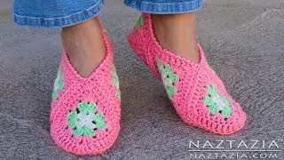 How to Crochet Granny Square Slippers - DIY Tutorial Soft Shoes Booties Bedroom Slipper for Adults