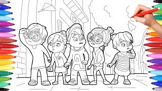 Alvinnn and the Chipmunks, Alvin Coloring Pages for Kids, How to Draw and Color Alvin Simon Theo 2
