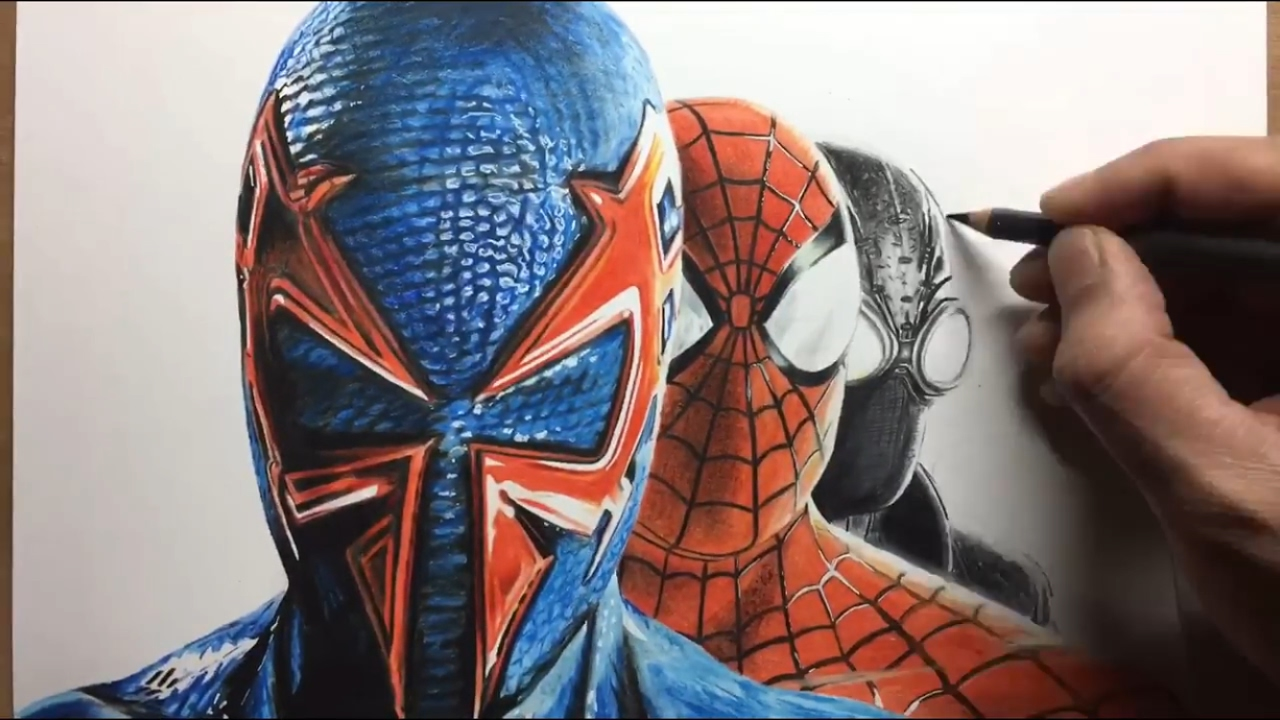 drawing spiderman shattered dimensions timelapse
