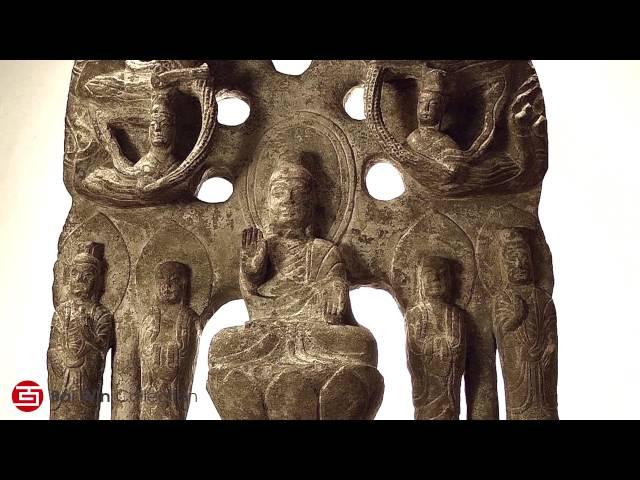 Six Dynasties Kuan Yin limestone carving on lotus throne 386-532 AD