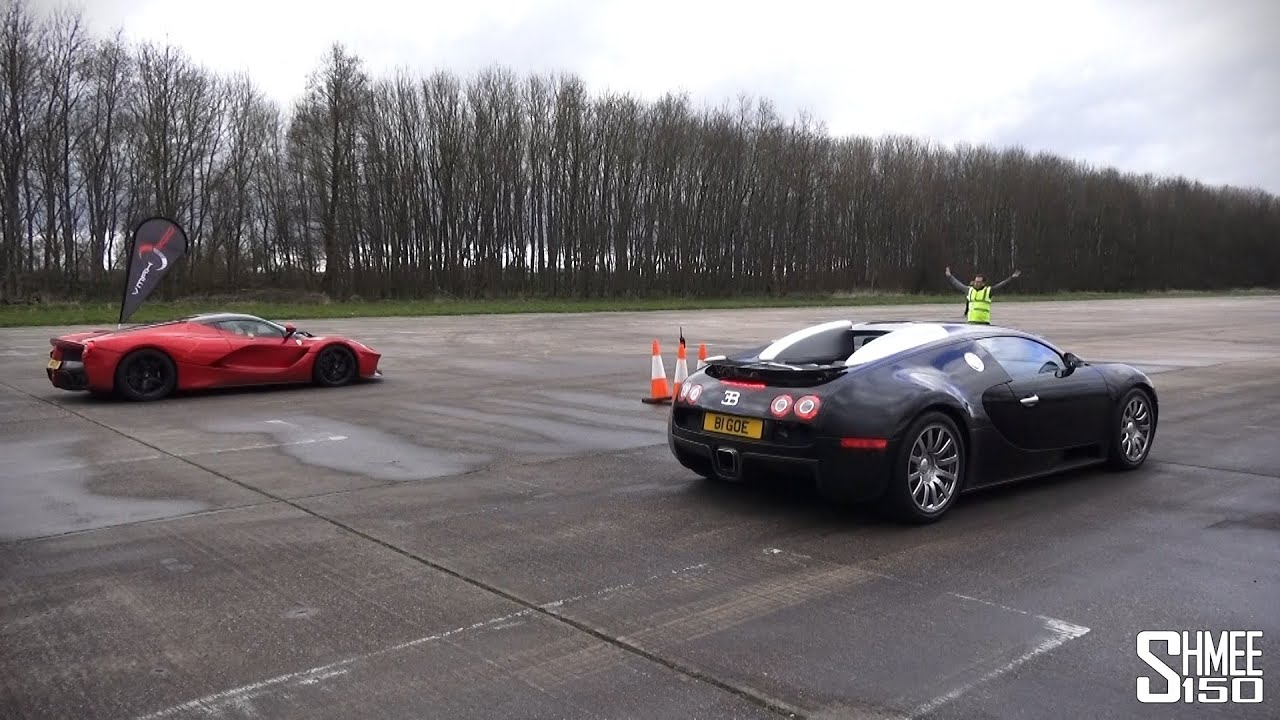 DRAG RACE LaFerrari Vs Bugatti Veyron Vmax Stealth YouTube