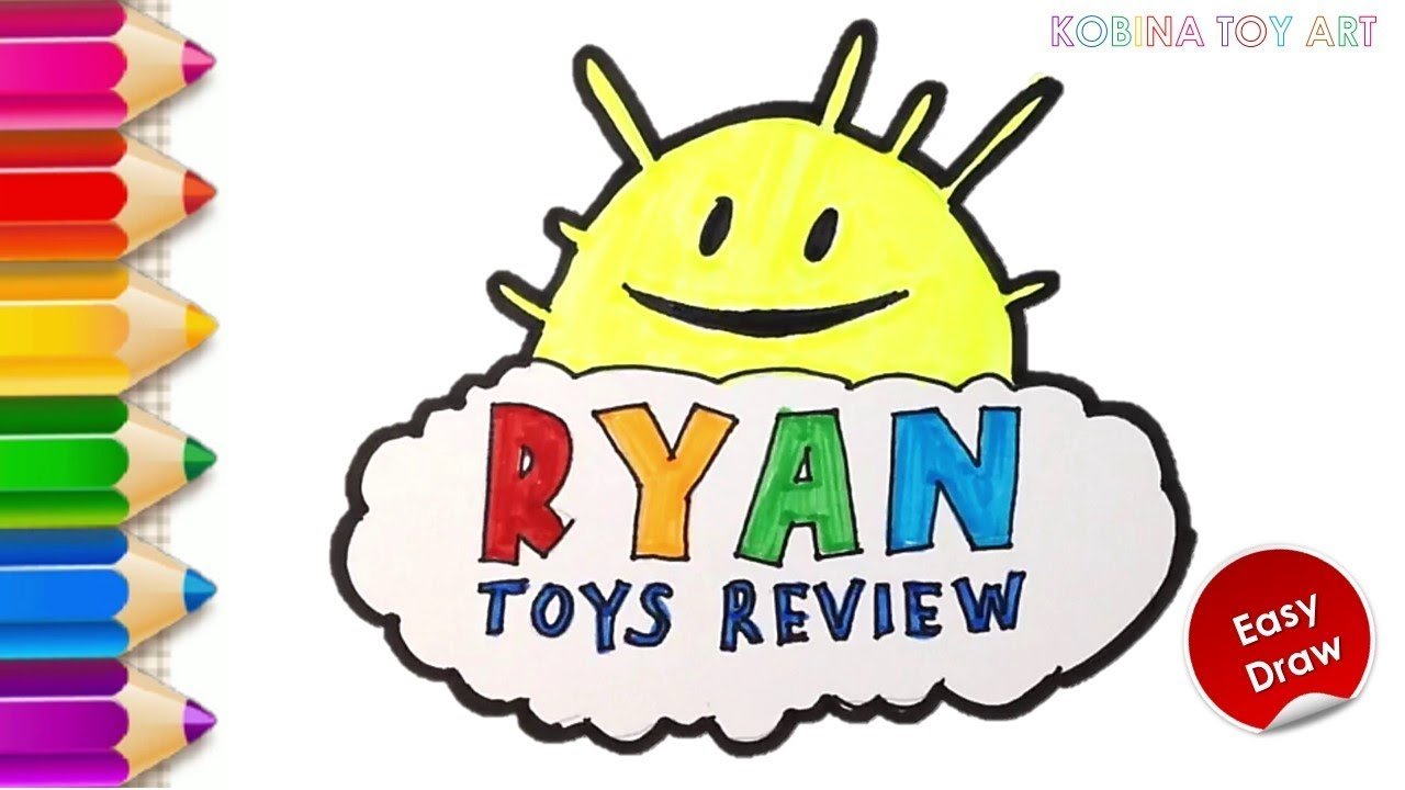 ryan toys review logo drawing and coloring  learn colors
