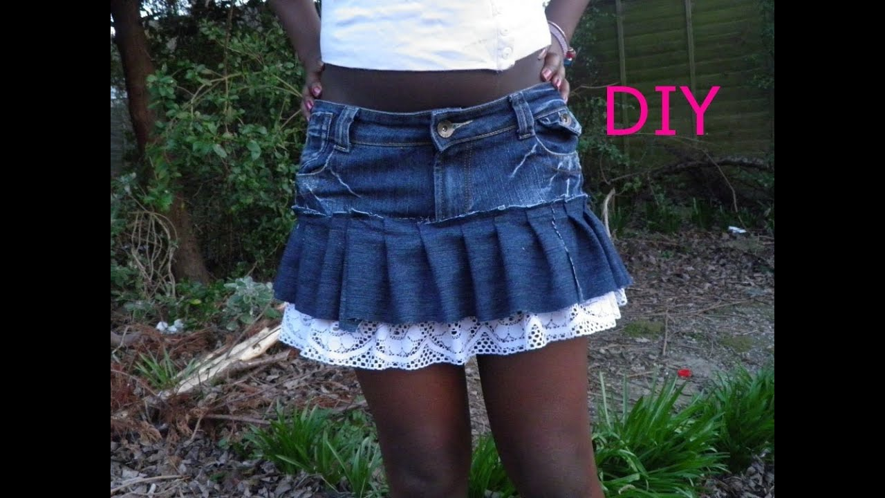 DIY fashion ruffle mini skirt recycling old jeans - YouTube