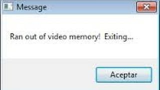 RAN OUT OF MEMORY, EXITING - problem of games! Minecraft, GTA V etc.