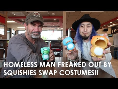 HOMELESS MAN FREAKED OUT BY SQUISHIES SWAP COSTUMES!! BUT THIS HAPPENS...