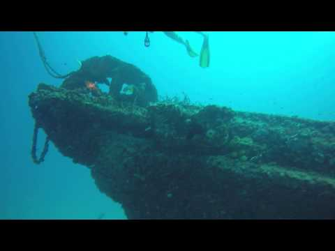Diving the Cayman Salvage Master - Key West Florida - Bow of Ship - Cable Wheel - 7-17-2015