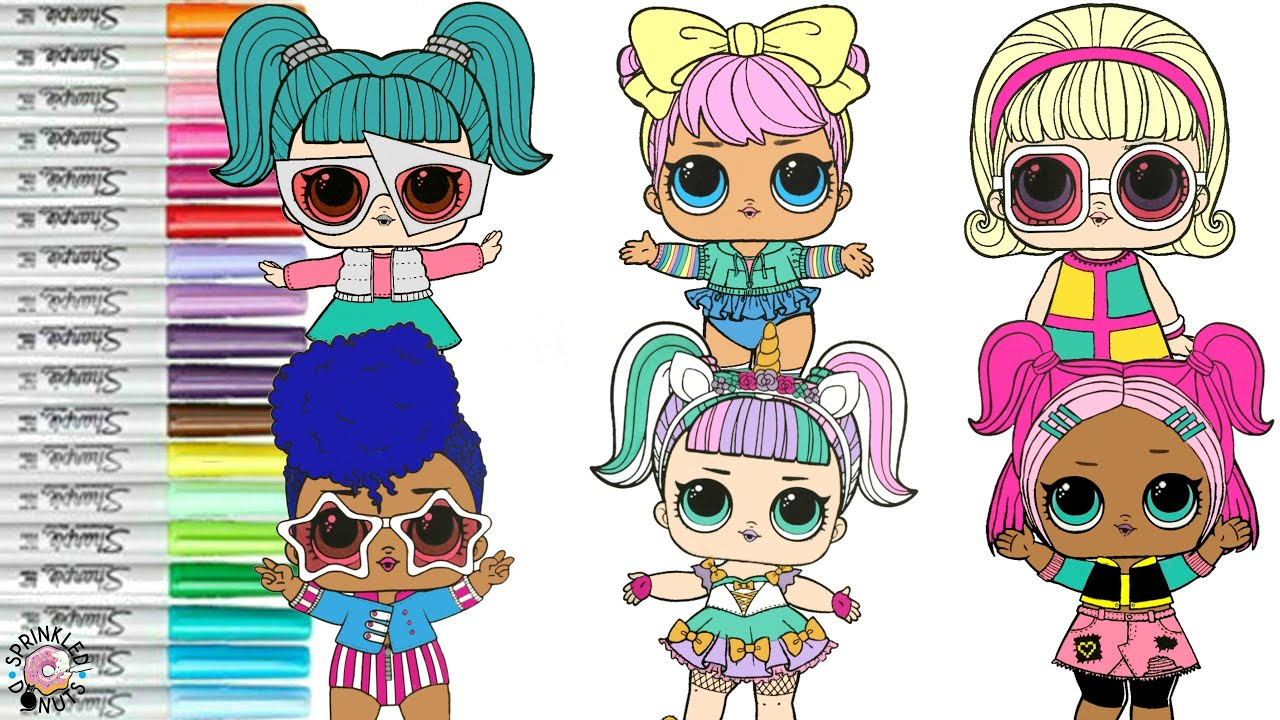 Lol Surprise Dolls Coloring Book Pages Sparkle Series Independent Queen Unicorn Vrqt Go Go Gurl Youtube