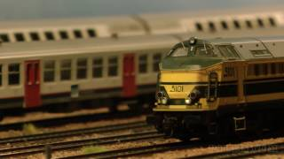 Heavy Freight Trains and Passenger Model Trains in action
