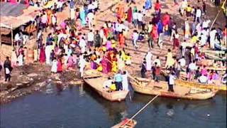 Great Narmada River Darshan worship by People, Old  Bridge & wooden Boat by Shirishkumar