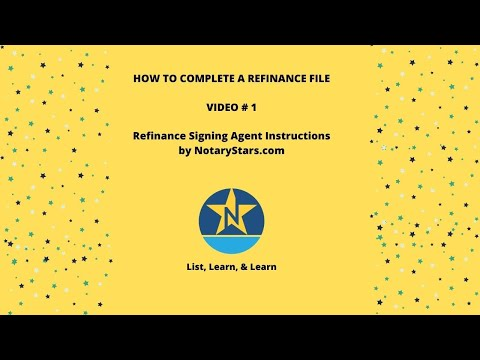 1  Refinance Signing Agent Instructions